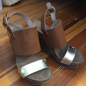 Brown and gold wedges